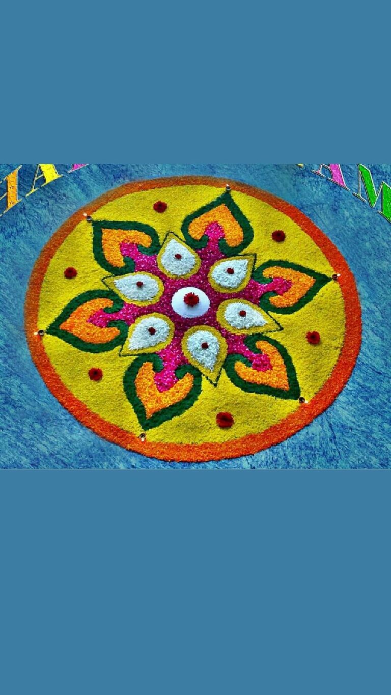 Food grains rangoli designs for diwali